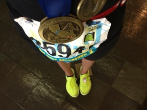 SF Wipro Half Marathon Bib and finishers medal. LA/SF Challenge Medal.